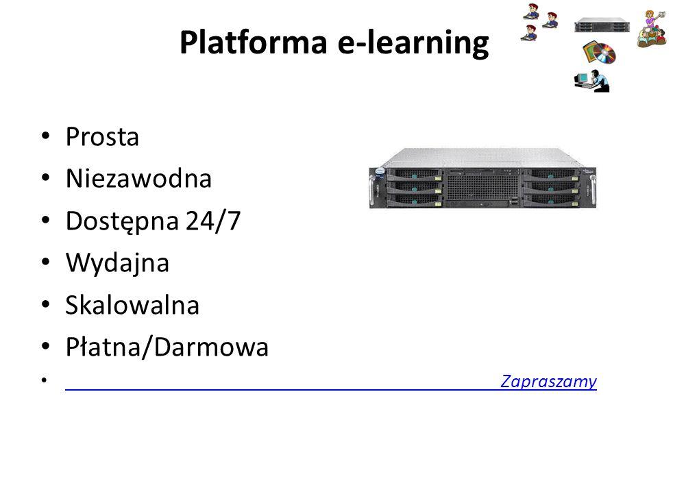 Platforma e-learning Prosta Niezawodna Dostępna 24/7 Wydajna Skalowalna Płatna/Darmowa Zapraszamy