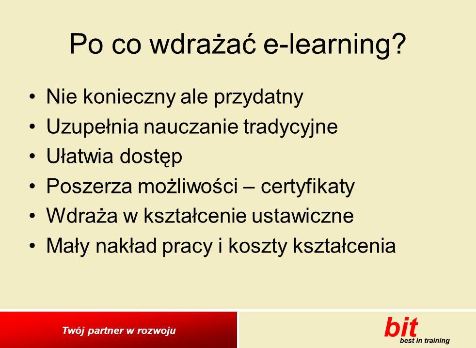 Twój partner w rozwoju Po co wdrażać e-learning.