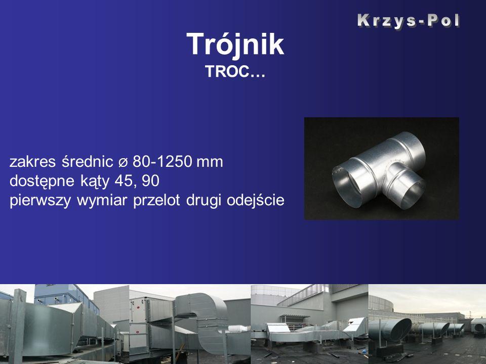 zakres średnic Ø 80-1250 mm dostępne kąty 45, 90 pierwszy wymiar przelot drugi odejście Trójnik TROC…