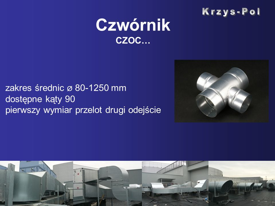 Czwórnik CZOC… zakres średnic Ø 80-1250 mm dostępne kąty 90 pierwszy wymiar przelot drugi odejście