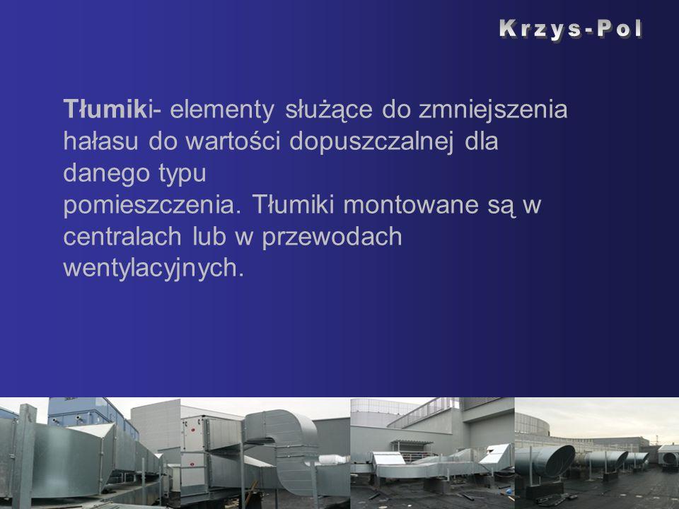 Tłumiki- elementy służące do zmniejszenia hałasu do wartości dopuszczalnej dla danego typu pomieszczenia. Tłumiki montowane są w centralach lub w prze