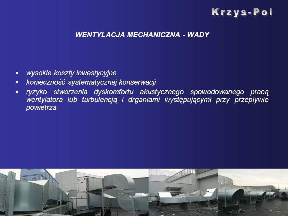 WENTYLACJA MECHANICZNA - WADY wysokie koszty inwestycyjne konieczność systematycznej konserwacji ryzyko stworzenia dyskomfortu akustycznego spowodowan