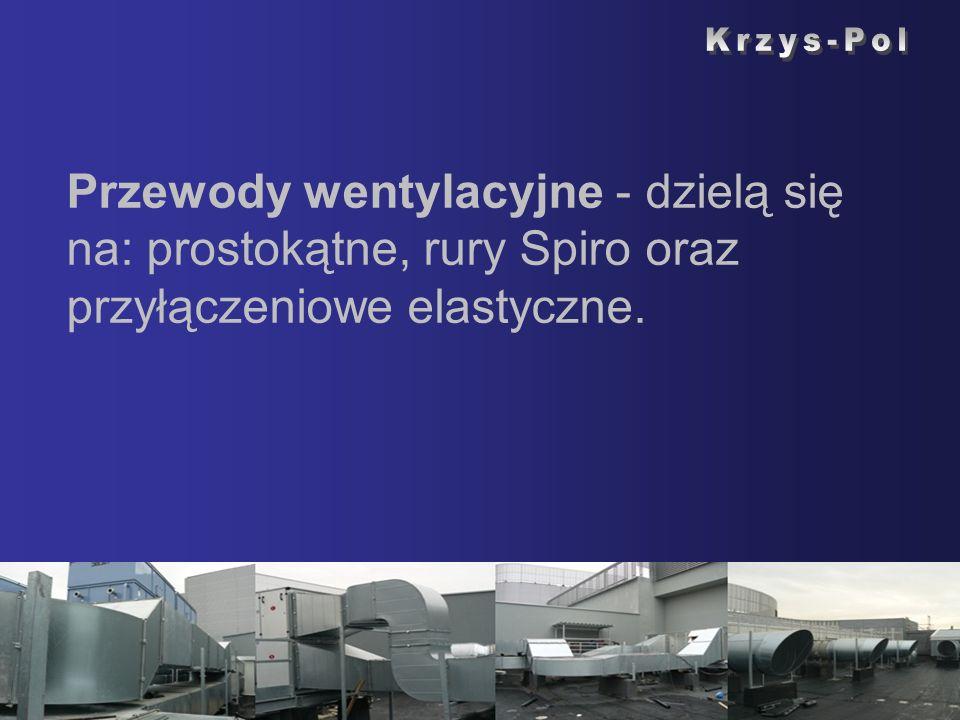 Przewody wentylacyjne - dzielą się na: prostokątne, rury Spiro oraz przyłączeniowe elastyczne.