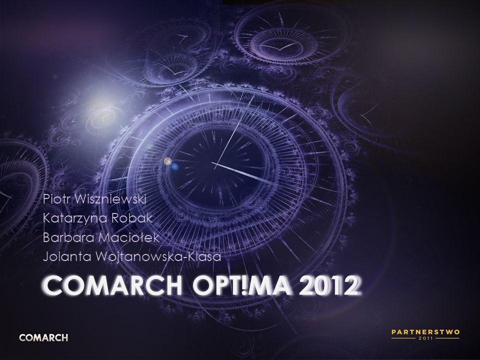COMARCH OPT!MA 2012 Piotr Wiszniewski Katarzyna Robak Barbara Maciołek Jolanta Wojtanowska-Klasa