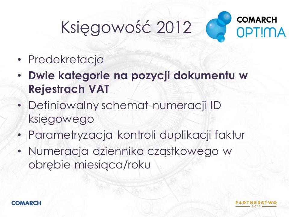 Księgowość 2012 Predekretacja Dwie kategorie na pozycji dokumentu w Rejestrach VAT Definiowalny schemat numeracji ID księgowego Parametryzacja kontrol