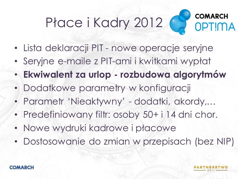 Płace i Kadry 2012 Lista deklaracji PIT - nowe operacje seryjne Seryjne e-maile z PIT-ami i kwitkami wypłat Ekwiwalent za urlop - rozbudowa algorytmów