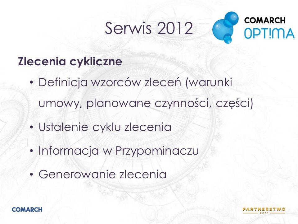Serwis 2012 Zlecenia cykliczne Definicja wzorców zleceń (warunki umowy, planowane czynności, części) Ustalenie cyklu zlecenia Informacja w Przypominac