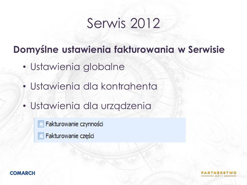 Serwis 2012 Domyślne ustawienia fakturowania w Serwisie Ustawienia globalne Ustawienia dla kontrahenta Ustawienia dla urządzenia