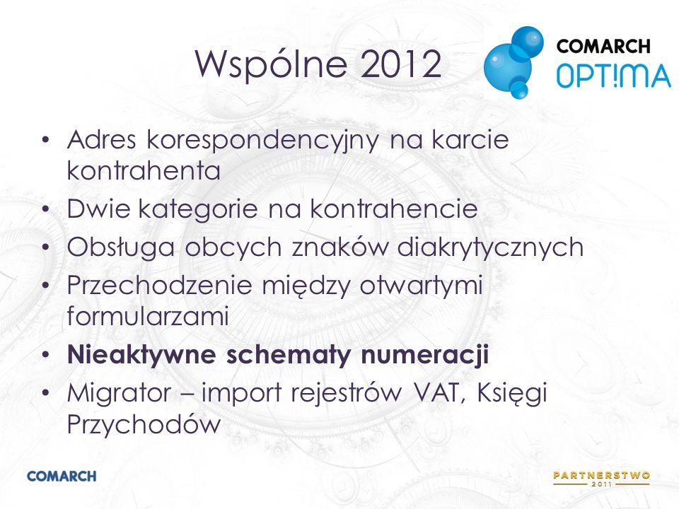 Wspólne 2012 Adres korespondencyjny na karcie kontrahenta Dwie kategorie na kontrahencie Obsługa obcych znaków diakrytycznych Przechodzenie między otw