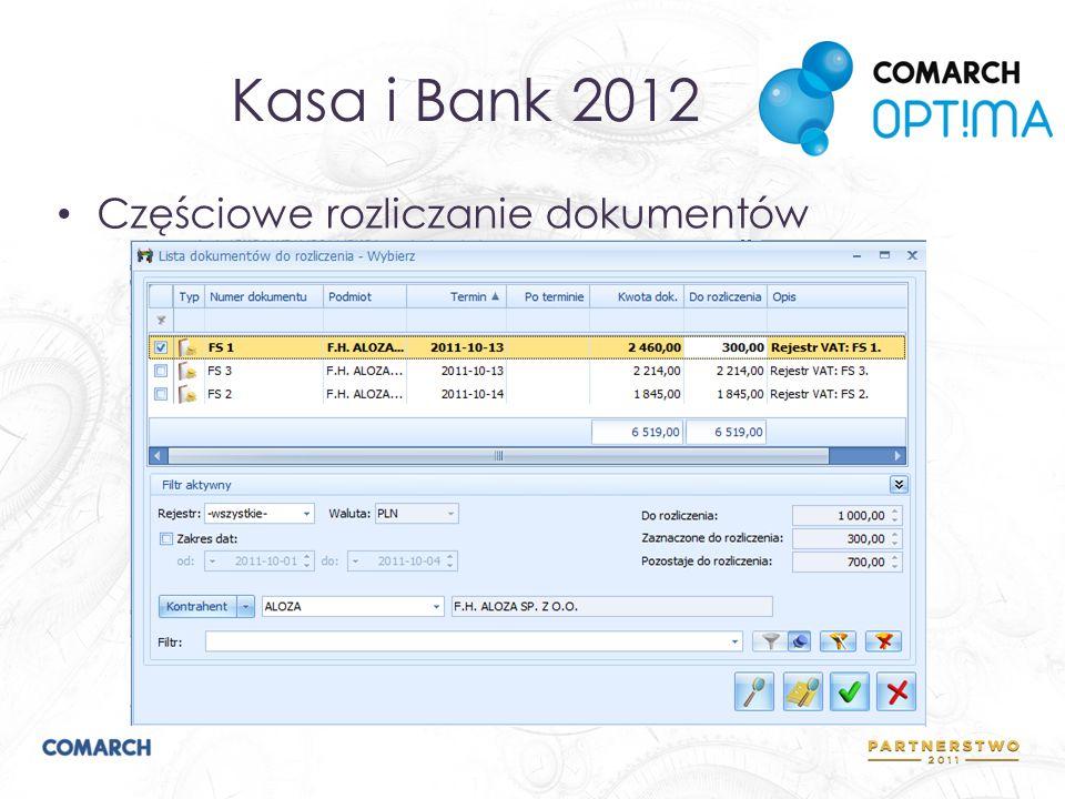Księgowość 2012 Predekretacja Dwie kategorie na pozycji dokumentu w Rejestrach VAT Definiowalny schemat numeracji ID księgowego Parametryzacja kontroli duplikacji faktur Numeracja dziennika cząstkowego w obrębie miesiąca/roku