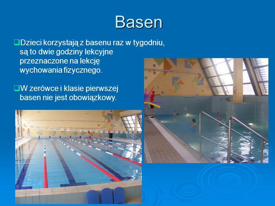 Basen Dzieci korzystają z basenu raz w tygodniu, są to dwie godziny lekcyjne przeznaczone na lekcję wychowania fizycznego. W zerówce i klasie pierwsze