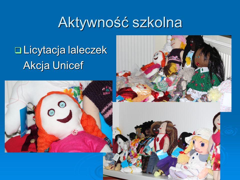Aktywność szkolna Licytacja laleczek Licytacja laleczek Akcja Unicef Akcja Unicef