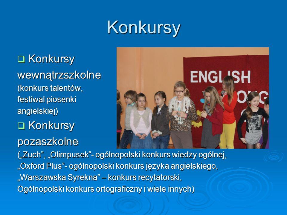 Konkursy Konkursy Konkursywewnątrzszkolne (konkurs talentów, festiwal piosenki angielskiej) Konkursy Konkursypozaszkolne (Zuch, Olimpusek- ogólnopolsk