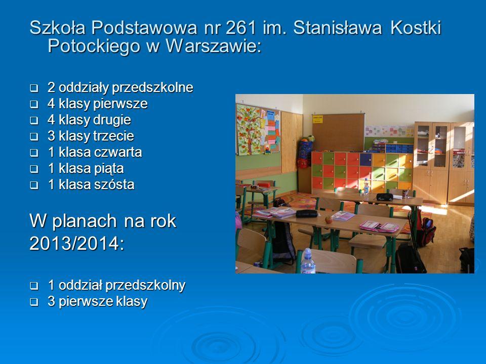 Szkoła Podstawowa nr 261 im. Stanisława Kostki Potockiego w Warszawie: 2 oddziały przedszkolne 2 oddziały przedszkolne 4 klasy pierwsze 4 klasy pierws