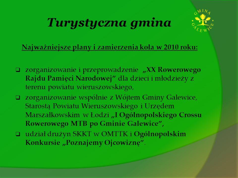Turystyczna gmina Najważniejsze plany i zamierzenia koła w 2010 roku: zorganizowanie i przeprowadzenie XX Rowerowego Rajdu Pamięci Narodowej dla dziec