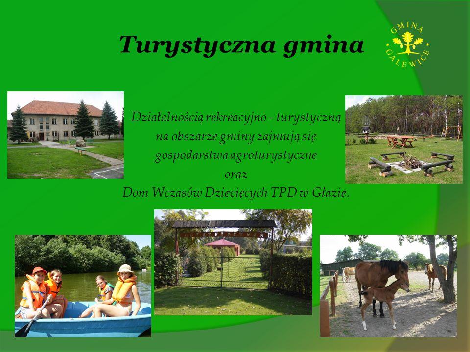 Turystyczna gmina Działalnością rekreacyjno - turystyczną na obszarze gminy zajmują się gospodarstwa agroturystyczne oraz Dom Wczasów Dziecięcych TPD