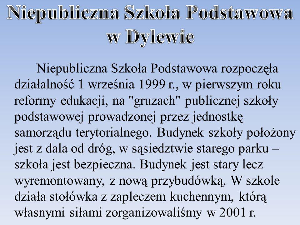 Niepubliczna Szkoła Podstawowa rozpoczęła działalność 1 września 1999 r., w pierwszym roku reformy edukacji, na gruzach publicznej szkoły podstawowej prowadzonej przez jednostkę samorządu terytorialnego.