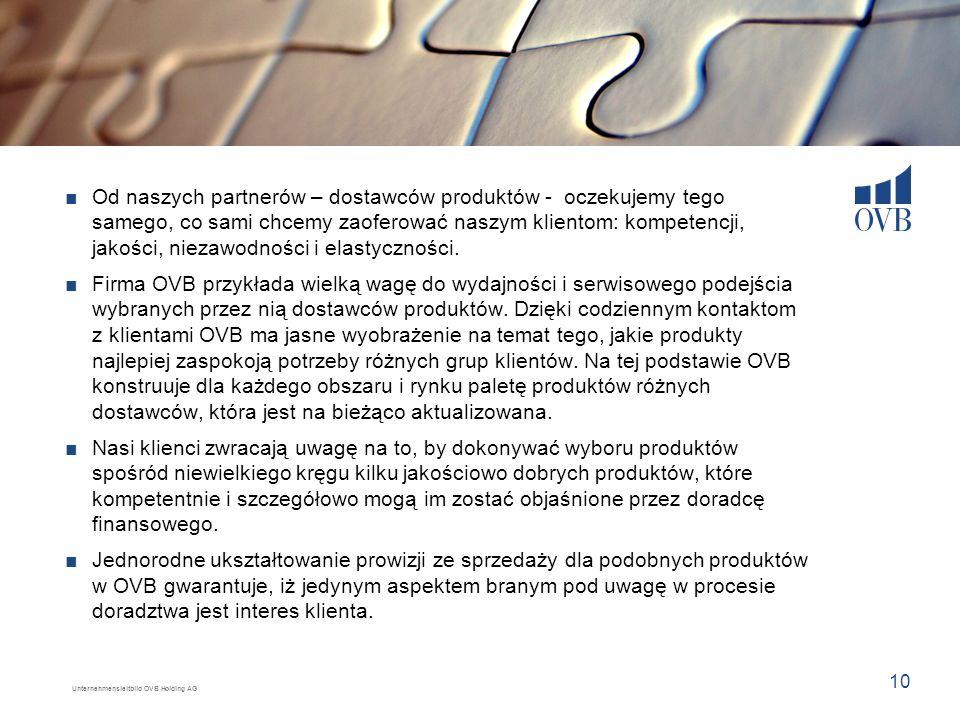 Unternehmensleitbild OVB Holding AG 10 Od naszych partnerów – dostawców produktów - oczekujemy tego samego, co sami chcemy zaoferować naszym klientom: