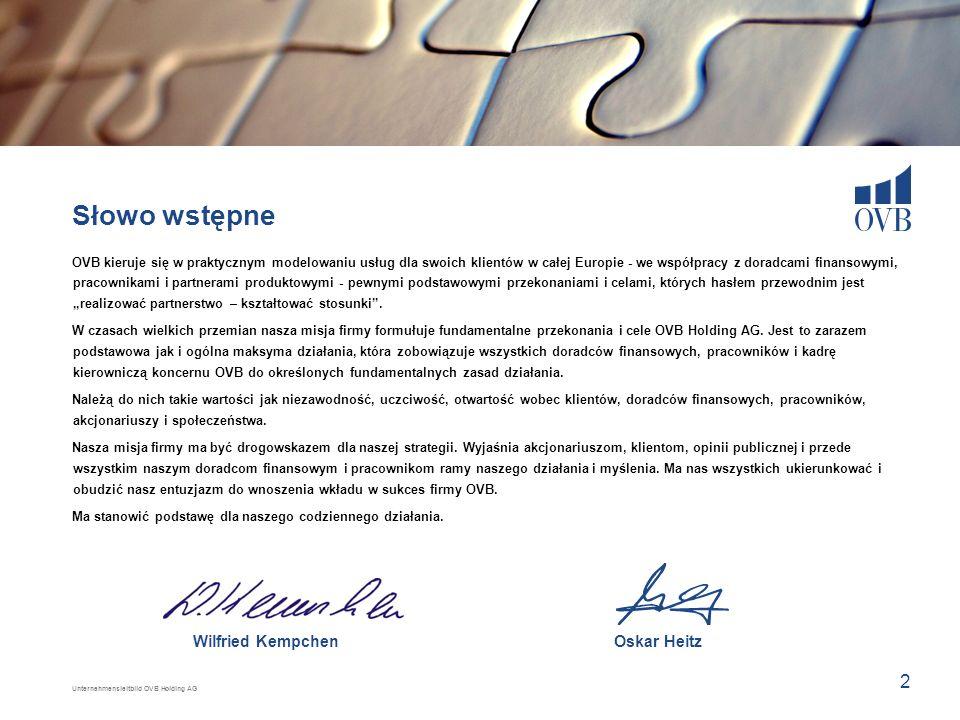 Unternehmensleitbild OVB Holding AG 2 Wilfried KempchenOskar Heitz Słowo wstępne OVB kieruje się w praktycznym modelowaniu usług dla swoich klientów w