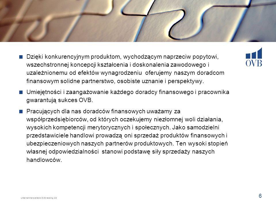 Unternehmensleitbild OVB Holding AG 6 Dzięki konkurencyjnym produktom, wychodzącym naprzeciw popytowi, wszechstronnej koncepcji kształcenia i doskonal