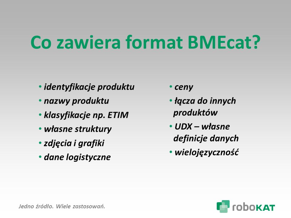 Jedno źródło.Wiele zastosowań. Co zawiera format BMEcat.