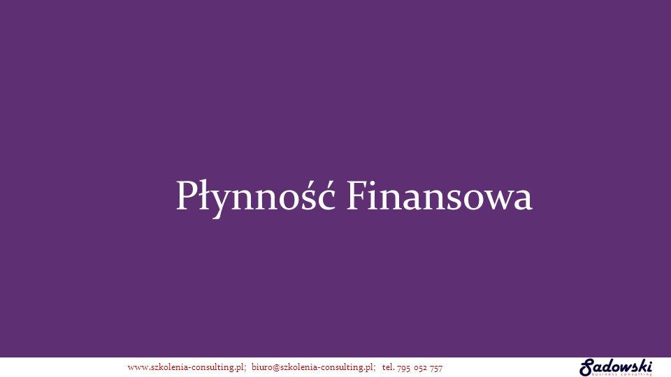 Płynność Finansowa www.szkolenia-consulting.pl; biuro@szkolenia-consulting.pl; tel. 795 052 757
