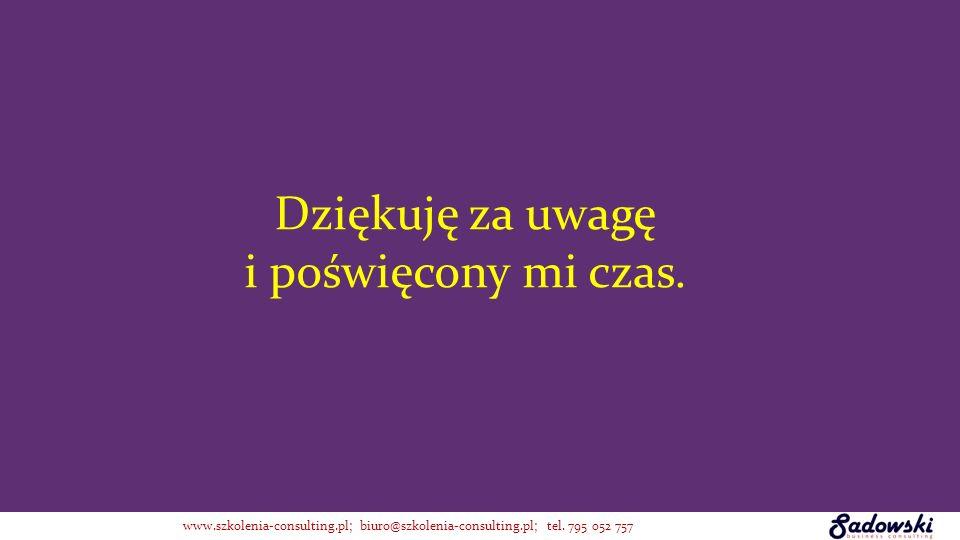 Dziękuję za uwagę i poświęcony mi czas. www.szkolenia-consulting.pl; biuro@szkolenia-consulting.pl; tel. 795 052 757