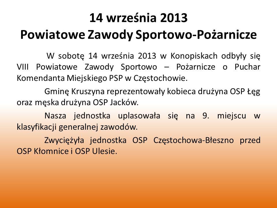 14 września 2013 Powiatowe Zawody Sportowo-Pożarnicze W sobotę 14 września 2013 w Konopiskach odbyły się VIII Powiatowe Zawody Sportowo – Pożarnicze o Puchar Komendanta Miejskiego PSP w Częstochowie.