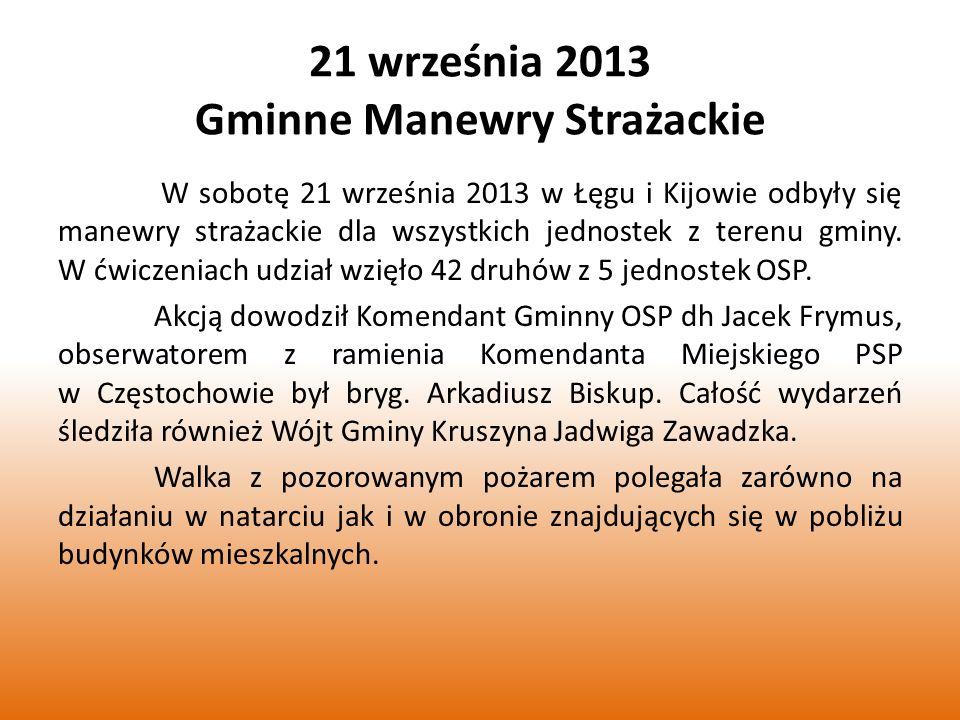 21 września 2013 Gminne Manewry Strażackie W sobotę 21 września 2013 w Łęgu i Kijowie odbyły się manewry strażackie dla wszystkich jednostek z terenu gminy.