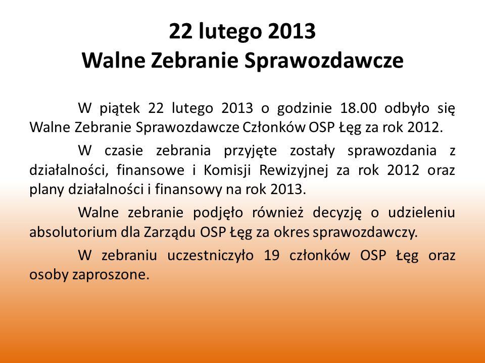22 lutego 2013 Walne Zebranie Sprawozdawcze W piątek 22 lutego 2013 o godzinie 18.00 odbyło się Walne Zebranie Sprawozdawcze Członków OSP Łęg za rok 2012.