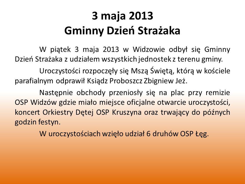 3 maja 2013 Gminny Dzień Strażaka W piątek 3 maja 2013 w Widzowie odbył się Gminny Dzień Strażaka z udziałem wszystkich jednostek z terenu gminy.