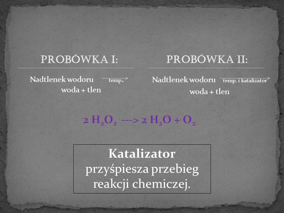 Probówka I: Nadtlenek wodoru temp. woda + tlen Nadtlenek wodoru temp. i katalizator woda + tlen Probówka II: 2 H 2 O 2 ---> 2 H 2 O + O 2 Katalizator