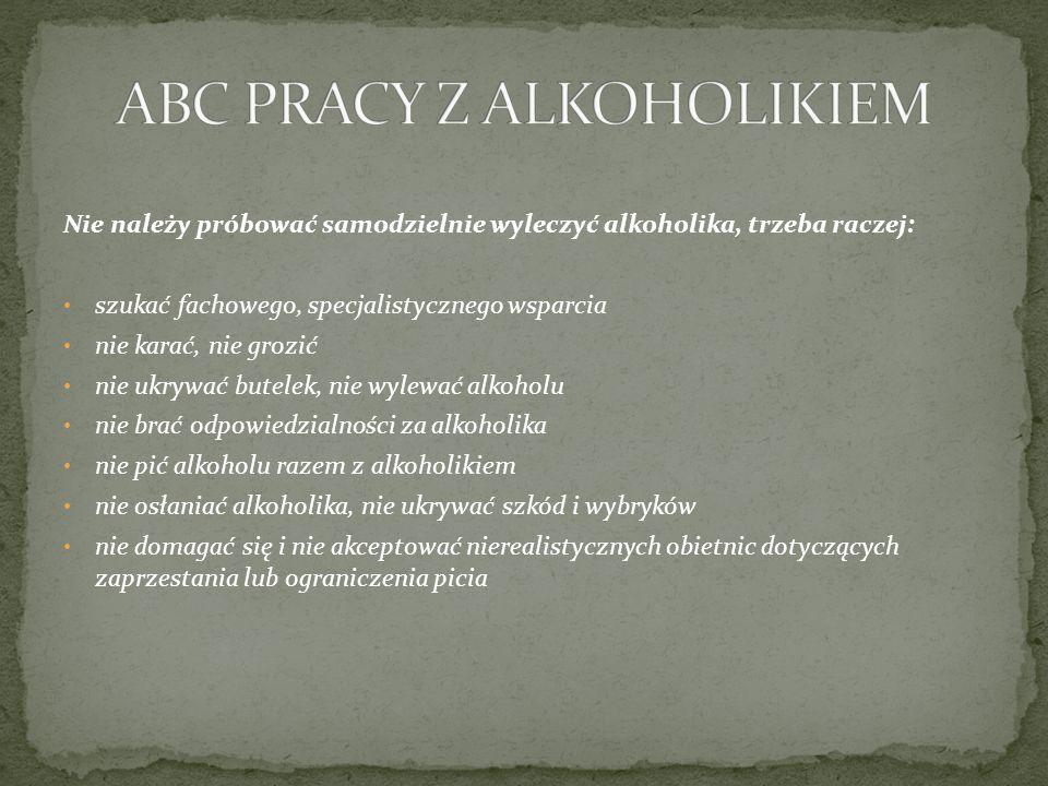 Nie należy próbować samodzielnie wyleczyć alkoholika, trzeba raczej: szukać fachowego, specjalistycznego wsparcia nie karać, nie grozić nie ukrywać butelek, nie wylewać alkoholu nie brać odpowiedzialności za alkoholika nie pić alkoholu razem z alkoholikiem nie osłaniać alkoholika, nie ukrywać szkód i wybryków nie domagać się i nie akceptować nierealistycznych obietnic dotyczących zaprzestania lub ograniczenia picia