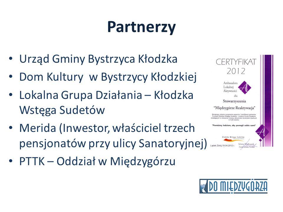 Partnerzy Urząd Gminy Bystrzyca Kłodzka Dom Kultury w Bystrzycy Kłodzkiej Lokalna Grupa Działania – Kłodzka Wstęga Sudetów Merida (Inwestor, właścicie