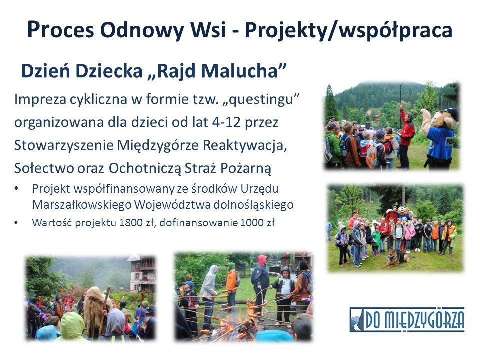 Pr oces Odnowy Wsi - Projekty/współpraca Dzień Dziecka Rajd Malucha Impreza cykliczna w formie tzw. questingu organizowana dla dzieci od lat 4-12 prze
