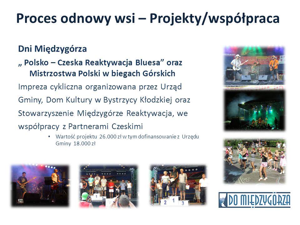 Proces odnowy wsi – Projekty/współpraca Dni Międzygórza Polsko – Czeska Reaktywacja Bluesa oraz Mistrzostwa Polski w biegach Górskich Impreza cykliczn