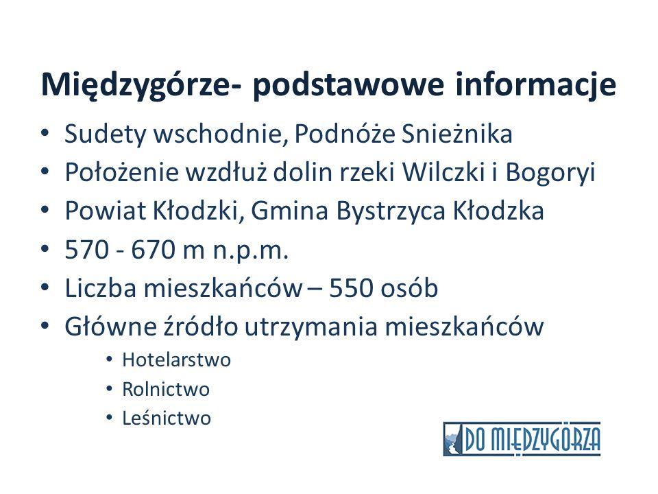 Międzygórze- podstawowe informacje Sudety wschodnie, Podnóże Snieżnika Położenie wzdłuż dolin rzeki Wilczki i Bogoryi Powiat Kłodzki, Gmina Bystrzyca
