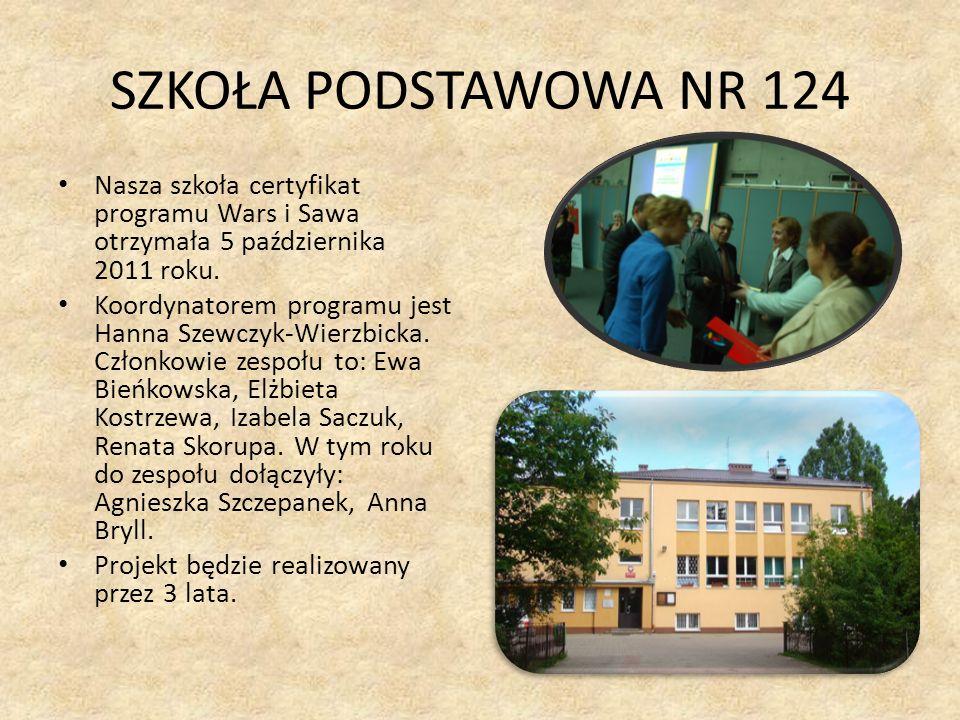 SZKOŁA PODSTAWOWA NR 124 Nasza szkoła certyfikat programu Wars i Sawa otrzymała 5 października 2011 roku. Koordynatorem programu jest Hanna Szewczyk-W