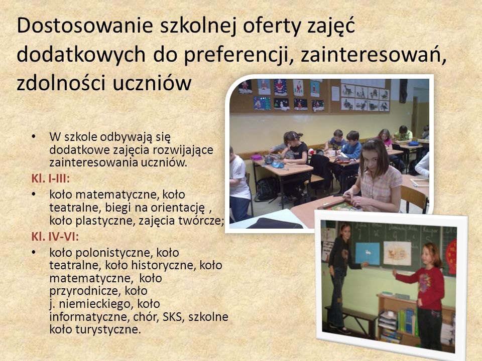 W szkole odbywają się dodatkowe zajęcia rozwijające zainteresowania uczniów. Kl. I-III: koło matematyczne, koło teatralne, biegi na orientację, koło p