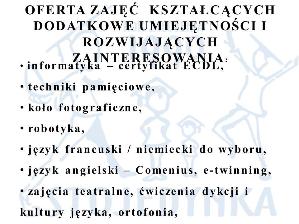 żywe lekcje historii – sejm, senat, Muzeum Powstania Warszawskiego, projekt historyczny pod patronatem Prezydenta Miasta Olsztyn, edukacyjny projekt gimnazjalny, geocaching, koło strzeleckie, mała przedsiębiorczość w ramach programu Ekonomia na co dzień,