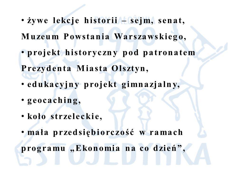 żywe lekcje historii – sejm, senat, Muzeum Powstania Warszawskiego, projekt historyczny pod patronatem Prezydenta Miasta Olsztyn, edukacyjny projekt g