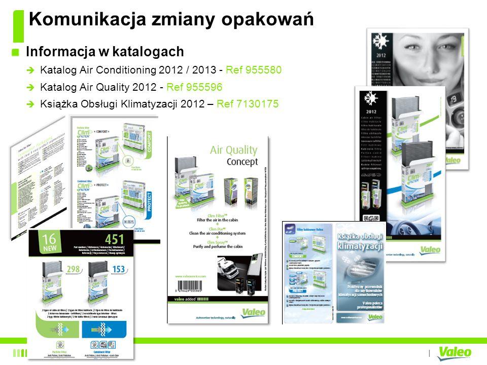 I Informacja w katalogach Katalog Air Conditioning 2012 / 2013 - Ref 955580 Katalog Air Quality 2012 - Ref 955596 Książka Obsługi Klimatyzacji 2012 –