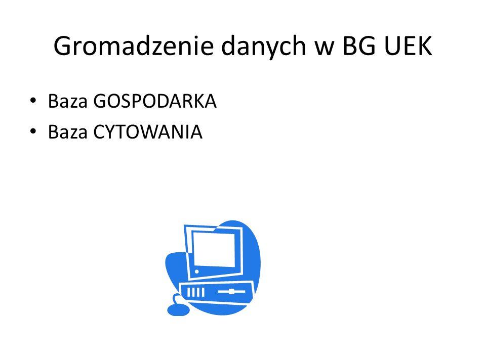 Gromadzenie danych w BG UEK Baza GOSPODARKA Baza CYTOWANIA