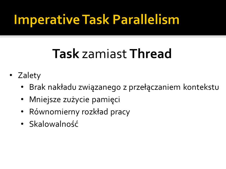 Task zamiast Thread Zalety Brak nakładu związanego z przełączaniem kontekstu Mniejsze zużycie pamięci Równomierny rozkład pracy Skalowalność