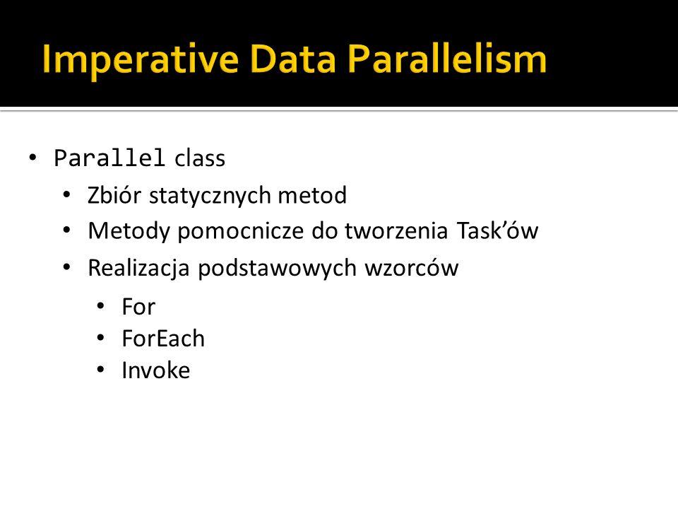 Parallel class Zbiór statycznych metod Metody pomocnicze do tworzenia Tasków Realizacja podstawowych wzorców For ForEach Invoke