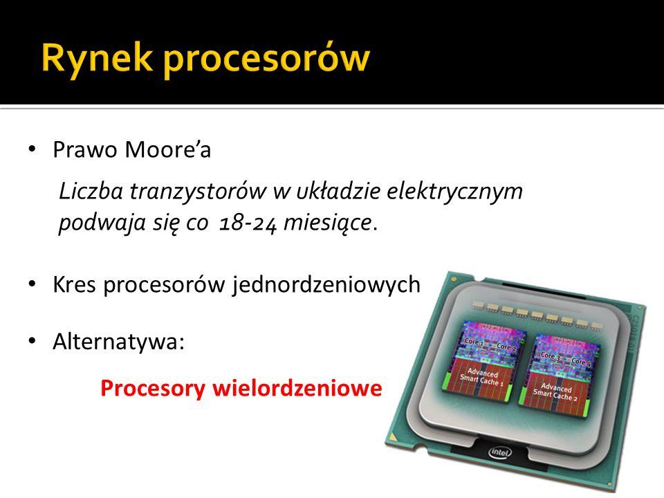 Prawo Moorea Liczba tranzystorów w układzie elektrycznym podwaja się co 18-24 miesiące. Kres procesorów jednordzeniowych Alternatywa: Procesory wielor