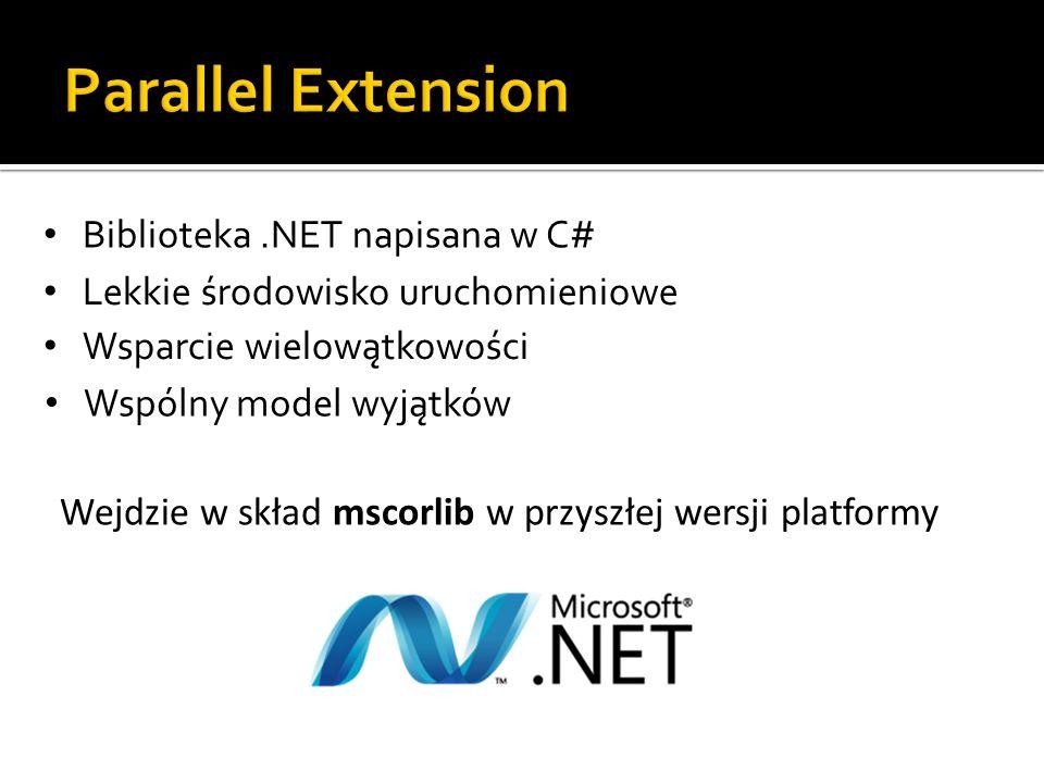 Biblioteka.NET napisana w C# Lekkie środowisko uruchomieniowe Wsparcie wielowątkowości Wspólny model wyjątków Wejdzie w skład mscorlib w przyszłej wer