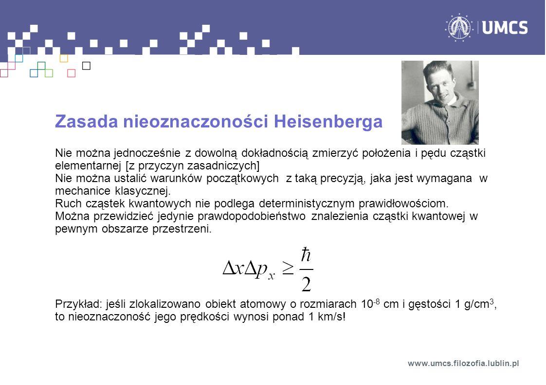 Zasada nieoznaczoności Heisenberga Nie można jednocześnie z dowolną dokładnością zmierzyć położenia i pędu cząstki elementarnej [z przyczyn zasadniczy