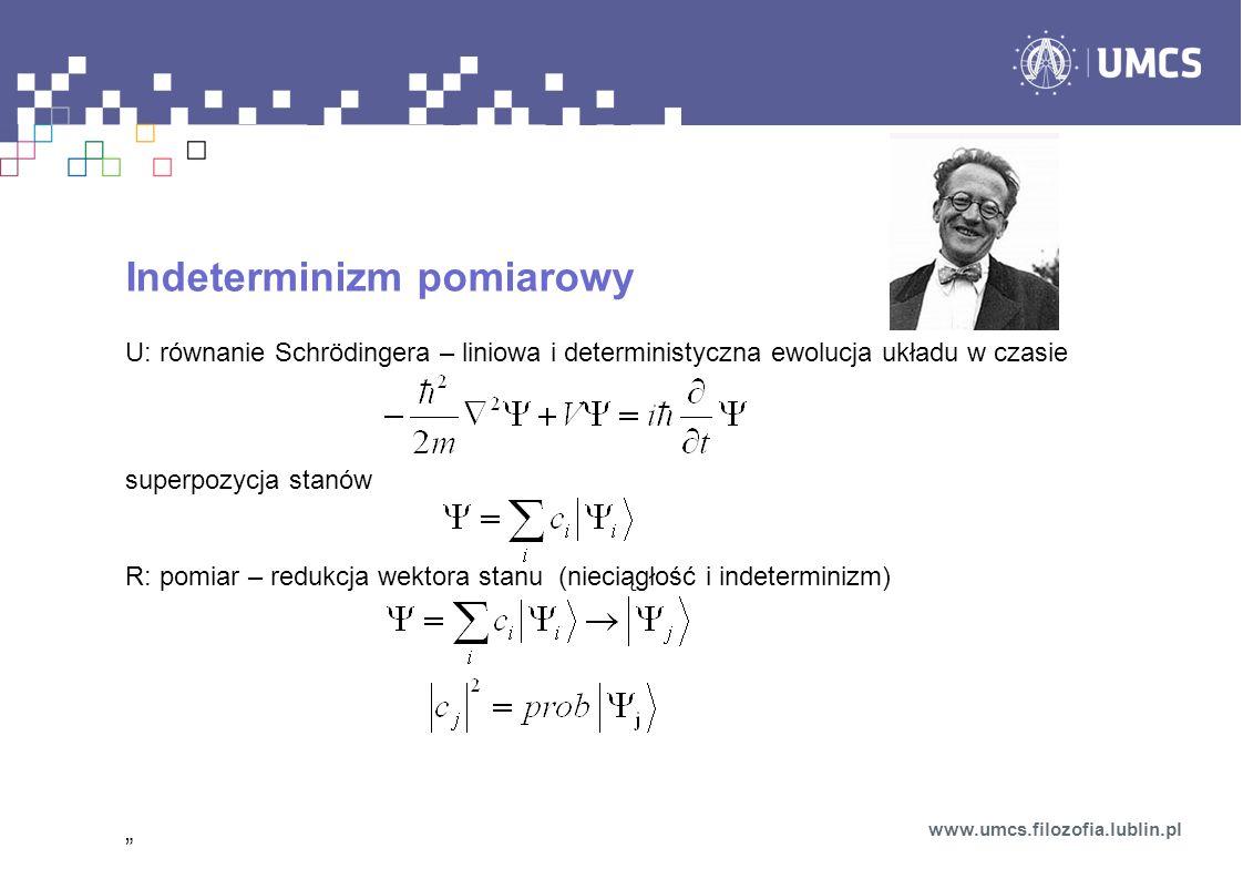 Indeterminizm pomiarowy U: równanie Schrödingera – liniowa i deterministyczna ewolucja układu w czasie superpozycja stanów R: pomiar – redukcja wektor