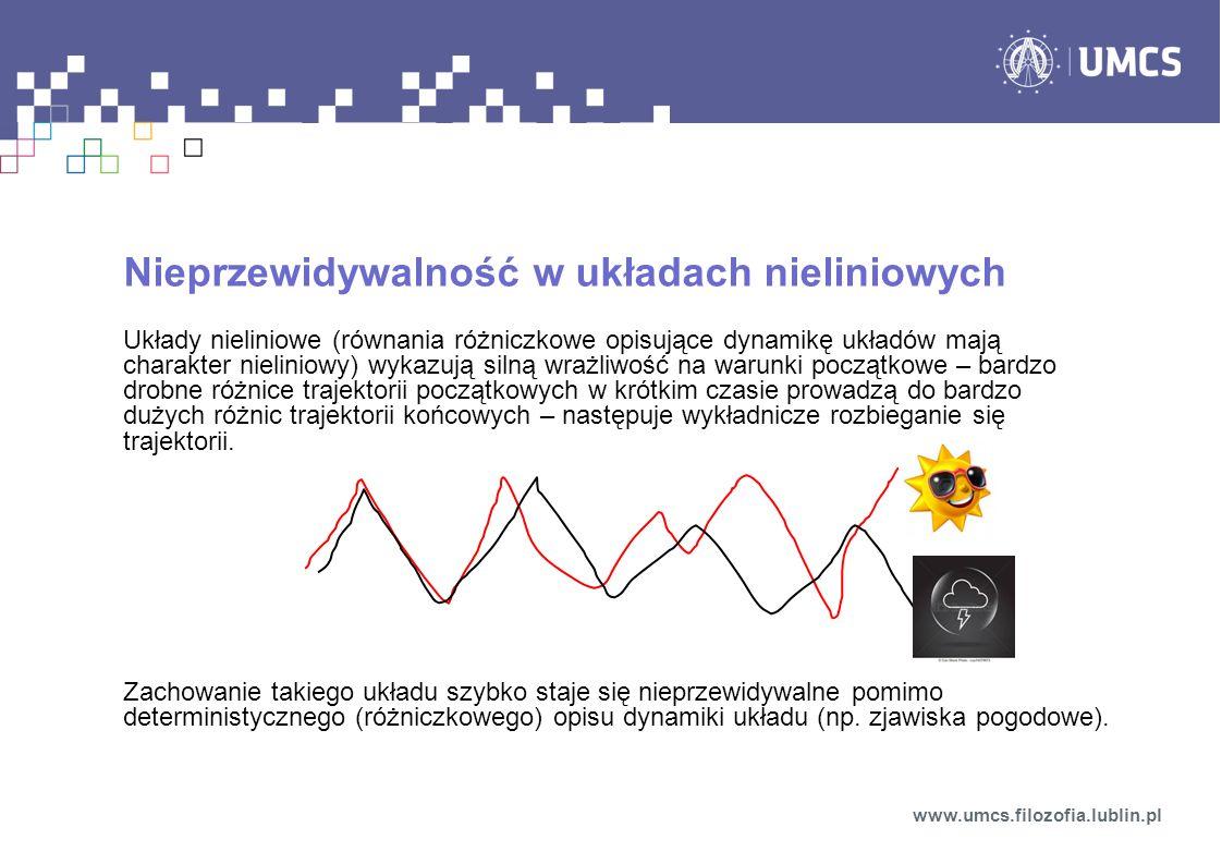 Nieprzewidywalność w układach nieliniowych Układy nieliniowe (równania różniczkowe opisujące dynamikę układów mają charakter nieliniowy) wykazują siln